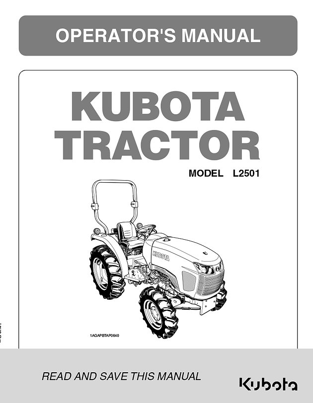 Kubota L2501 Operator's Manual | Garton Tractor | California ... on
