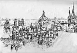 Oxford Skyline. B/W.