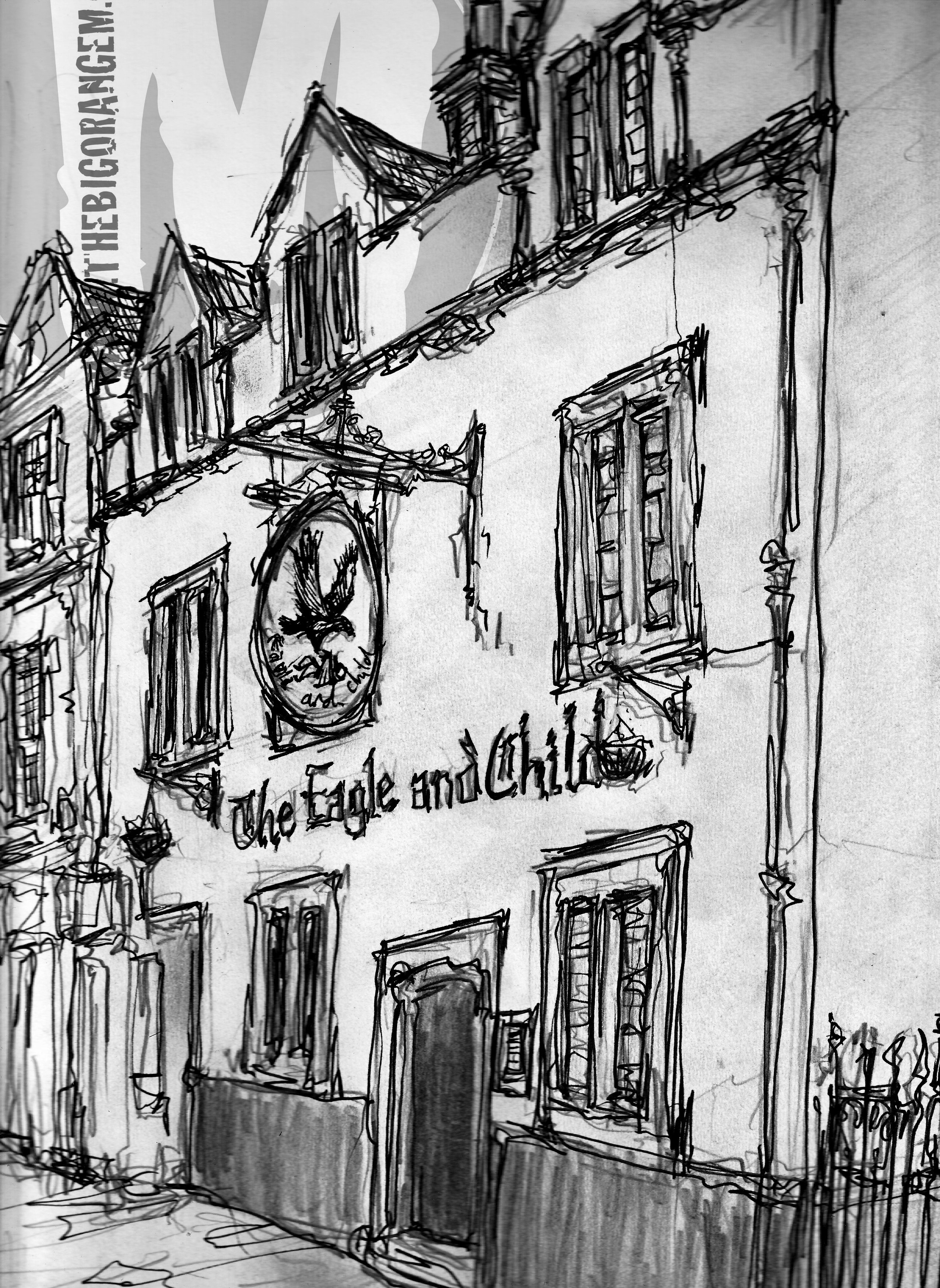 The Eagle & Child Inn.