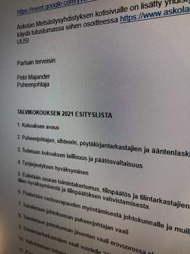 Tervetuloa Askolan Metsästysyhdistyksen talvikokoukseen sunnuntaina 31.1.2021