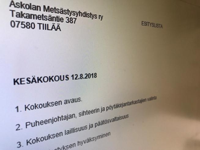 Askolan metsästysyhdistys ry:n kesäkokous 2018