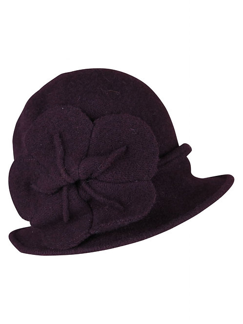 Fitted Winter Hat with Large Flower Detail