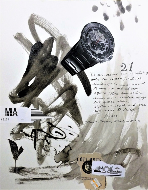 21The 33 Aquarian Notes No. 21, 2017, indian ink, acrylic and collage on cotton paper, 16 x 12 inches.        $300