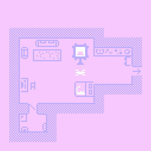 Birds eye view: A pink pixelated apartment showing a rat in bed and a spider about to steal a pink hat
