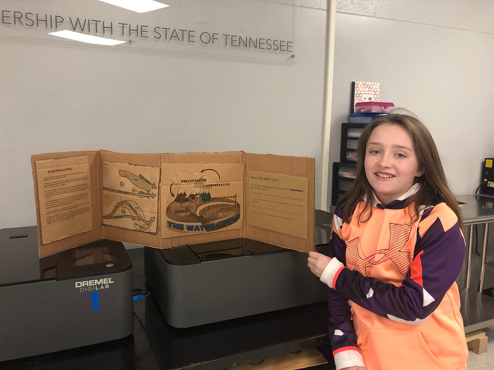 Carrico poses with weather patterns project she constructed in the VW eLab.