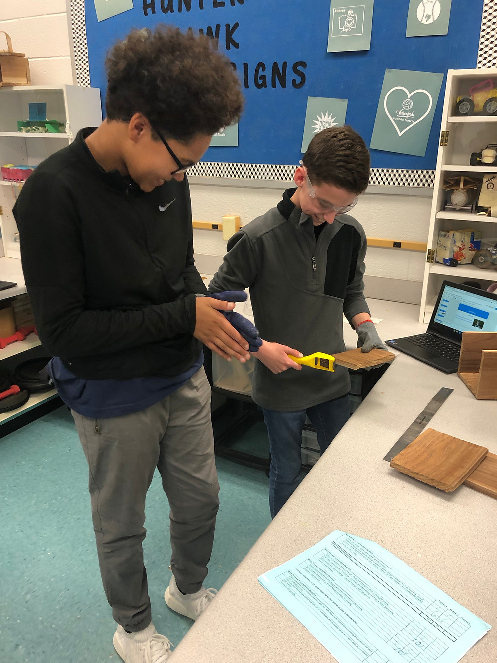 Class partners Williams & Tate working on their birdhouse construction
