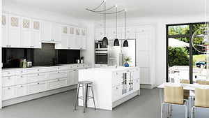 Klassiske fyldningslåger i køkkenet. Lyst og dejligt.