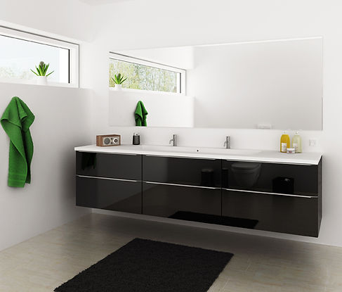 Sort højglans badeværelses elementer går aldrig af mode.