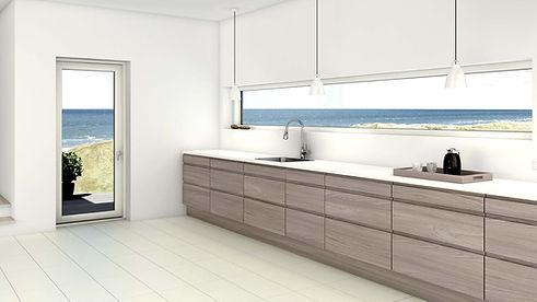 Nordisk look i køkkenet. Træ-look på køkkenlåger eller i badeværelset.