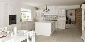 Nostalgisk køkken look med fyldningslåger, knopper og pilaster.