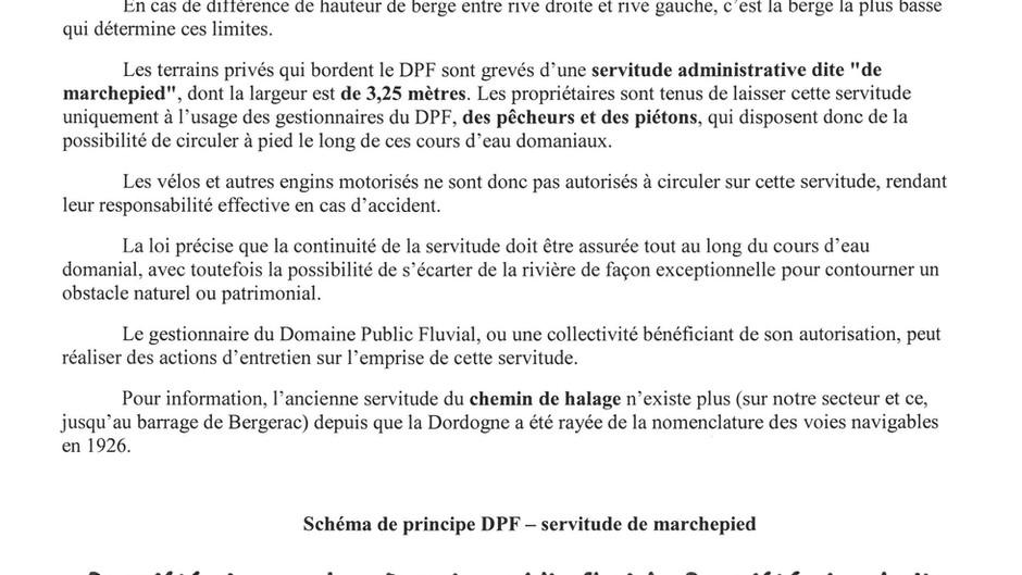 RAPPELS SERVITUDE DE MARCHEPIED