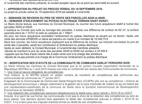 PROCÈS VERBAL DE LA RÉUNION DU 21 NOVEMBRE 2016