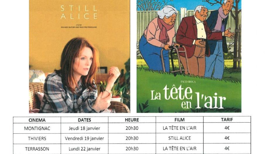 Séances cinéma France Alzheimer Dordogne et Ciné Passion en Périgord