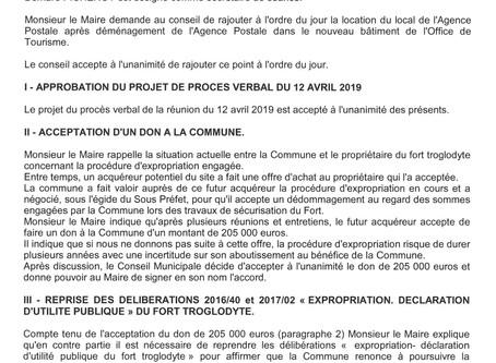 Procès verbal de la réunion du conseil municipal du samedi 25 mai 2019
