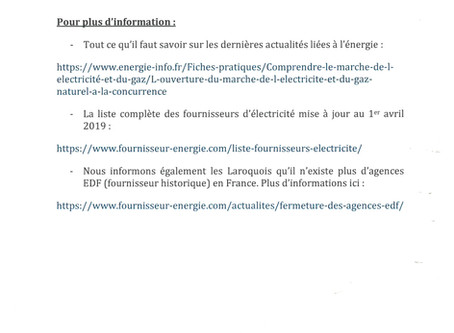 Mise à jour des fournisseurs d'électricité