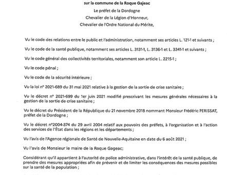 PORT DU MASQUE OBLIGATOIRE DANS LE VILLAGE JUSQU'AU 31 AOÛT