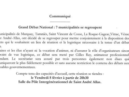 GRAND DÉBAT NATIONAL : ST ANDRÉ D'ALLAS LE 8 FÉVRIER 2019 - 20H30