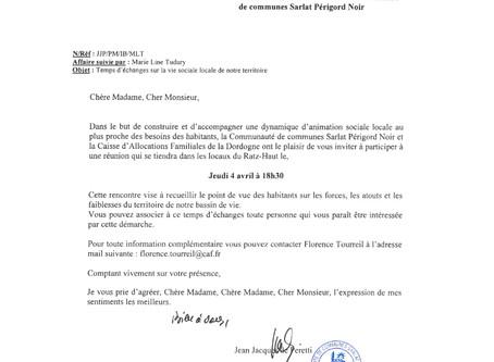 Réunion avec la Communauté de Communes Sarlat Périgord Noir et la Caisse d'Allocations Familiale