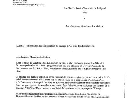 INFORMATION SUR L'INTERDICTION DE BRÛLAGE DES DÉCHETS VERTS