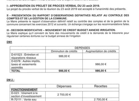 PROCES VERBAL DE LA REUNION DU CONSEIL MUNICIPAL DU 25 OCTOBRE 2019.