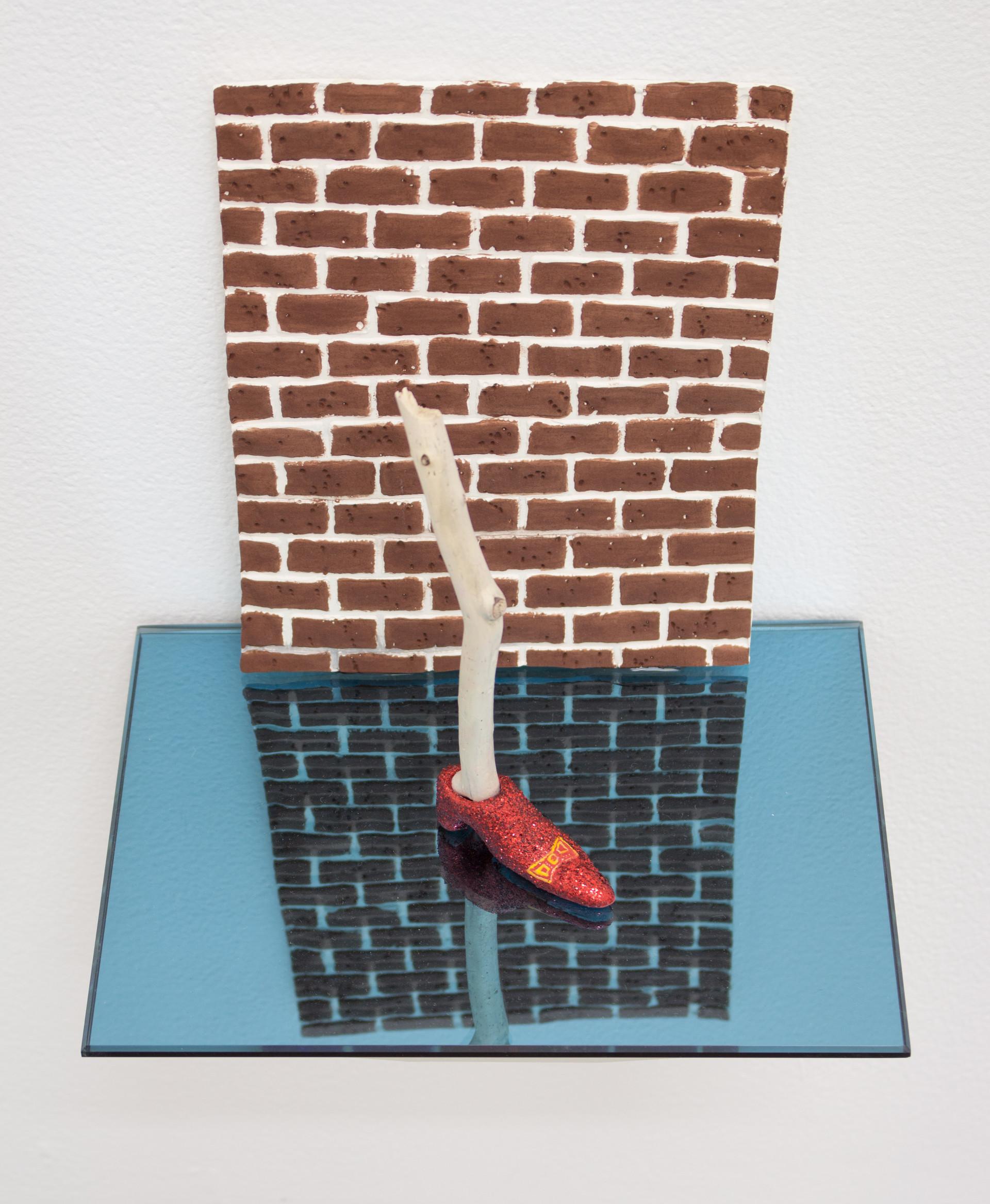 Shoe, Leg, Brick Wall