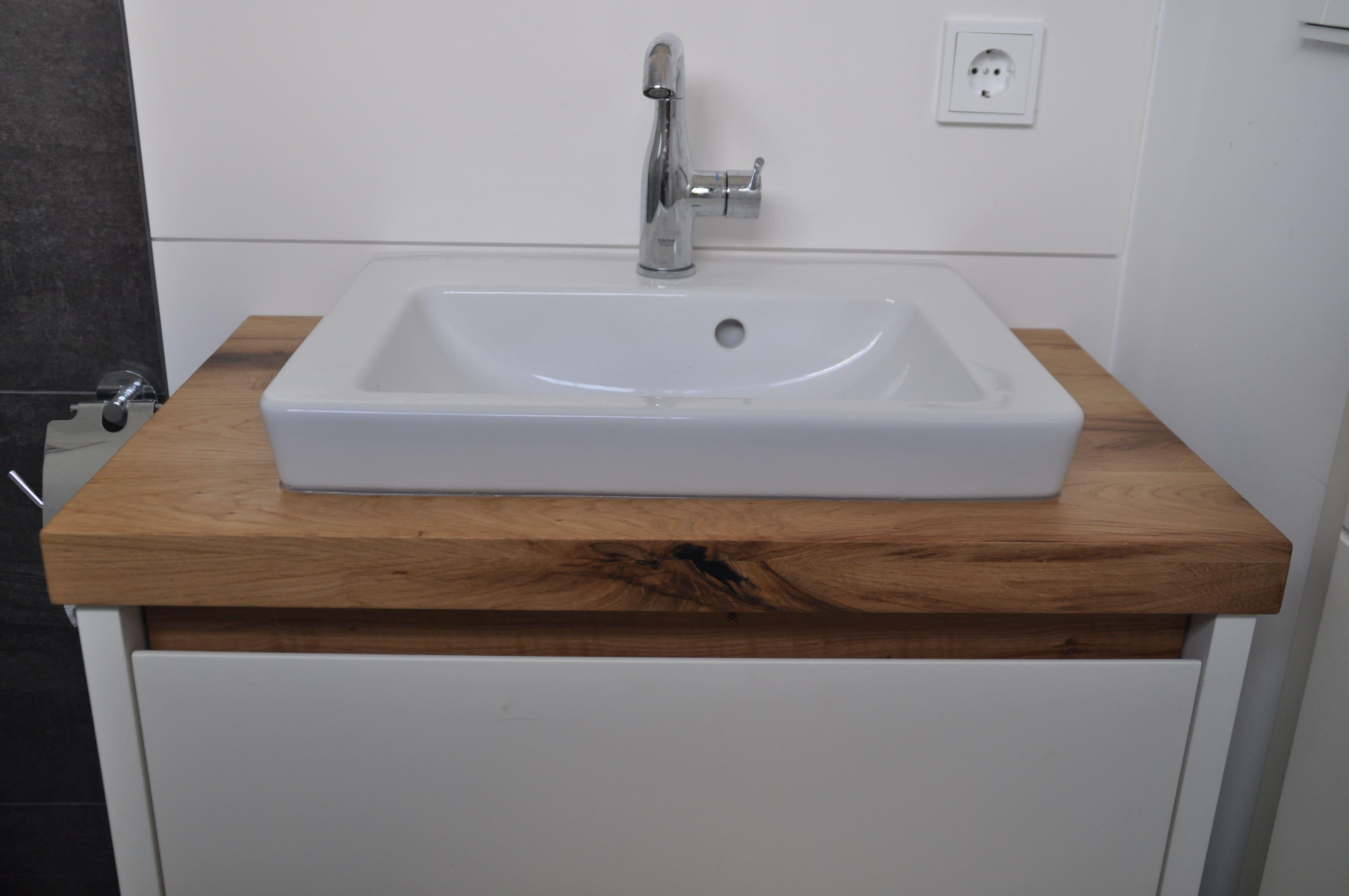Badezimmer Waschbecken Holz Fachwerkeiche