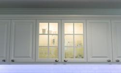 Küche Fachwerkeiche Eiche geölt Einbauküche weiße Fronten Wandschrank