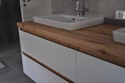 Badezimmer doppel Waschbecken Holz Fachwerkeiche