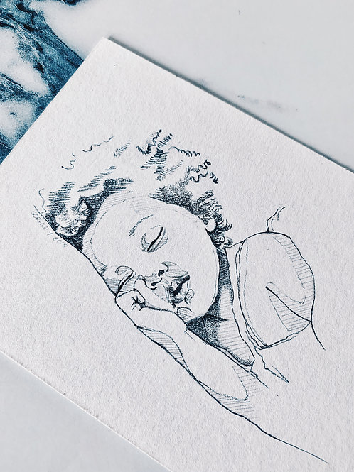 STYLE 3 - Illustrative Tiny Pencil Portrait