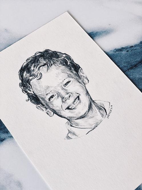 STYLE 4 - Bust Tiny Pencil Portrait