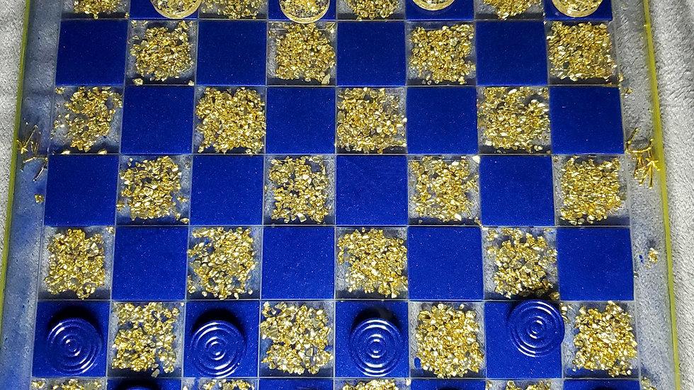 Handmade Sapphire & Gold Virgo Checker Board