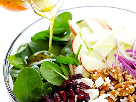 Spinach & Apple Salad with Garlic Infused Honey Vinaigrette