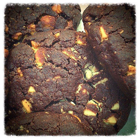 Chocolate cookies with white chocolate chunks