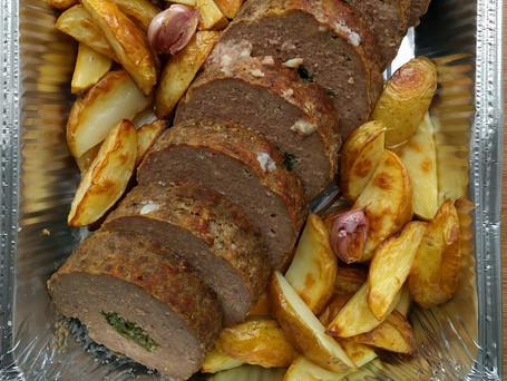 Gehaktbrood met geroosterde aardappelen