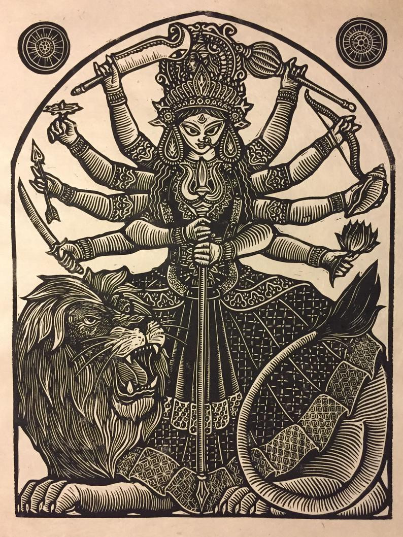 Woodcut print of Durga Maa