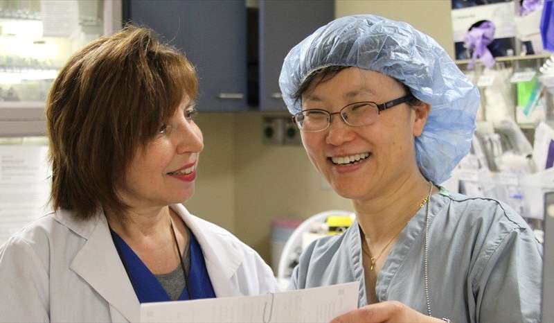Nerve block nurse Lisa Mastrangello (on the left) with Jinlei Li, MD, an anesthesiologist, discuss a nerve block, which is a type of regional anesthesia. Credit: Garrett Sendlewski