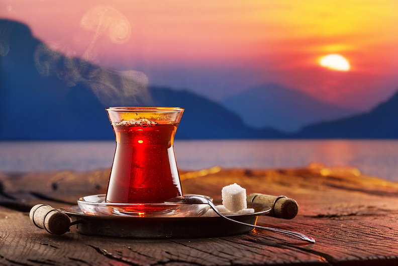 Glass with black traditional turkish tea