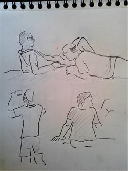 Hombres tomando sol
