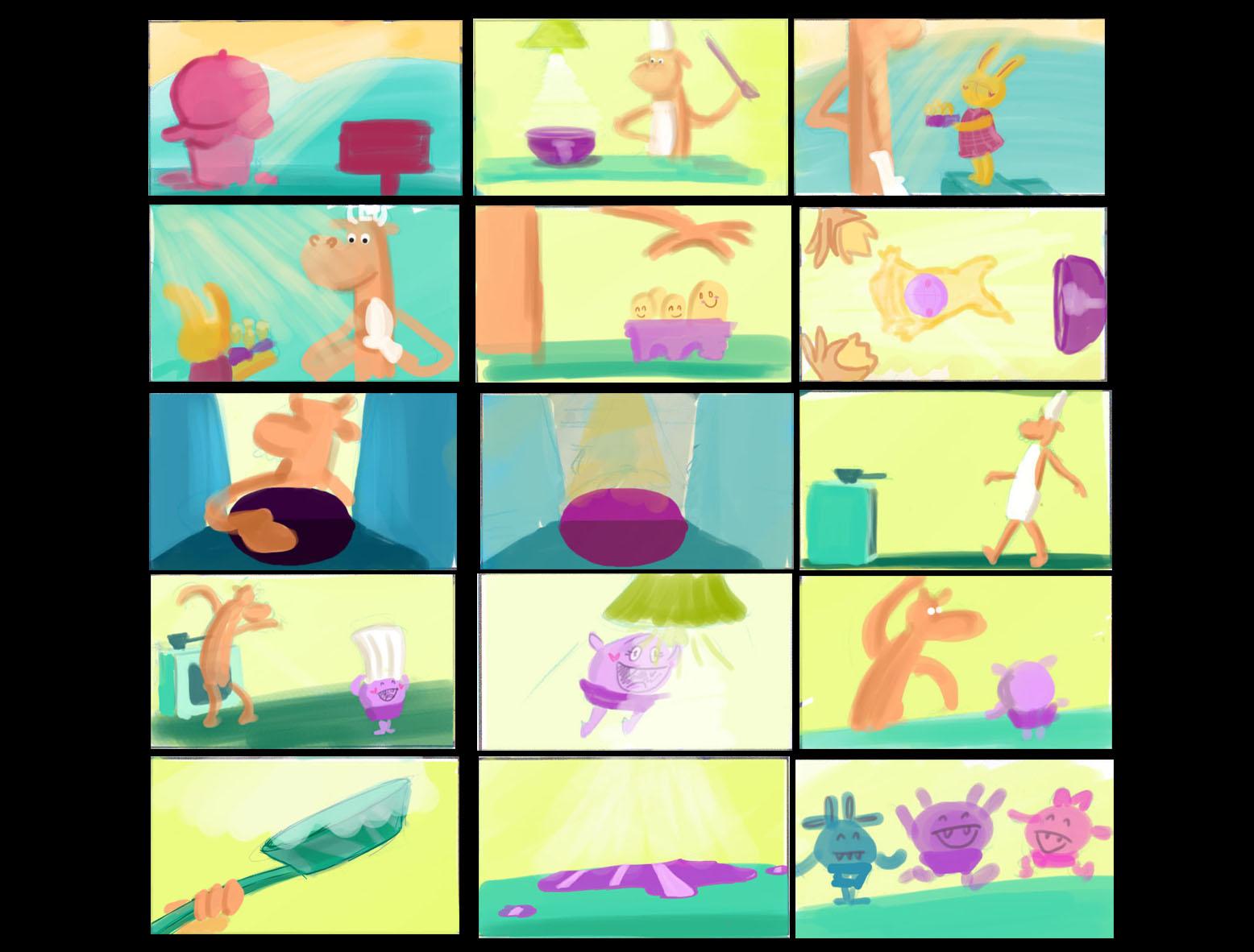 Color script Panito y Cupcake