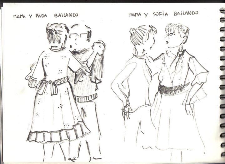 Mamá, papá y Sofía bailando