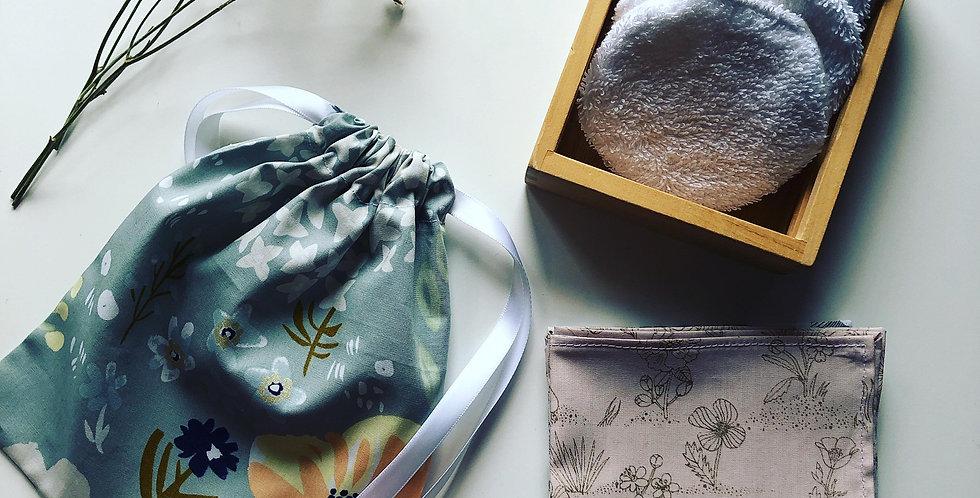 Lingettes lavables double face et pochette fleurie