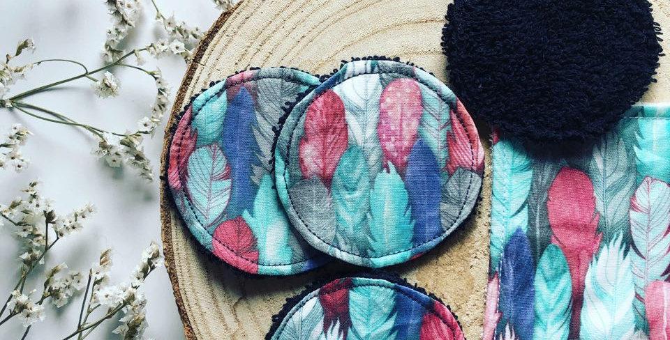 Collection de mini-cotons (ongles, voyage, enfant) motif plumes