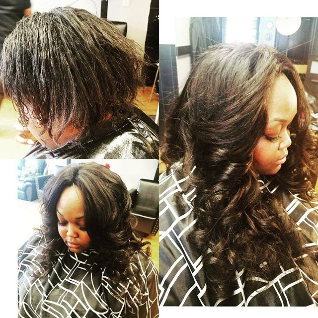 B4&After Full Installment Sewn in with a closure #weavemaster #KanessaAlexander #Masterstylist #Perf