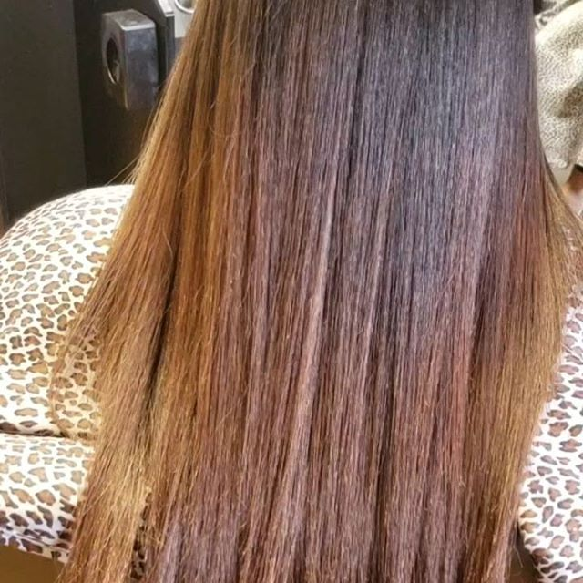 Color and Silk Press on natural hair.