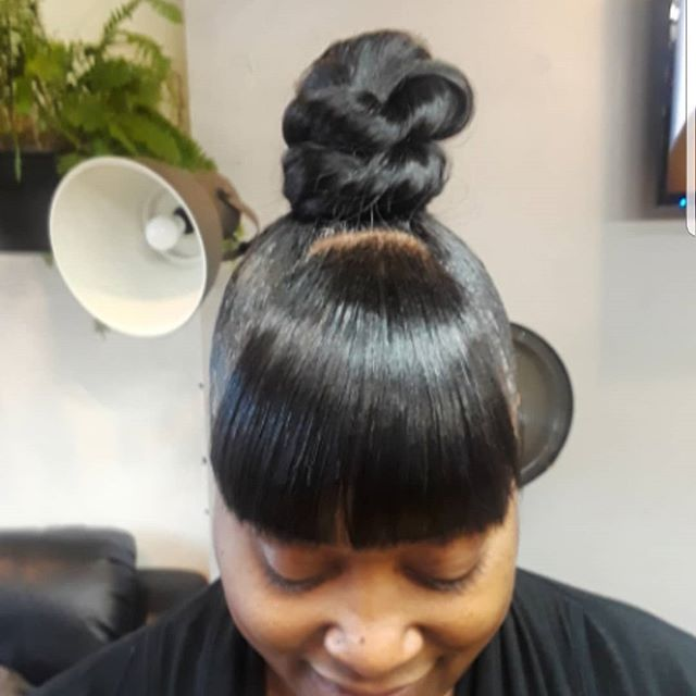 Sunday at the salon..Top Knot Bun