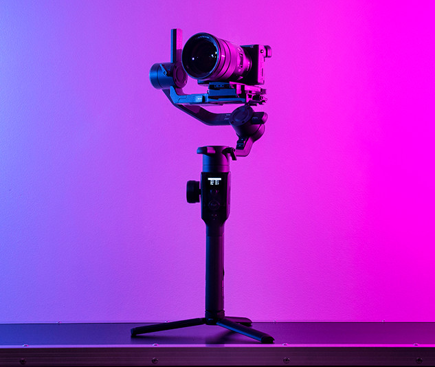 camera on gimbal 80s colour scheme