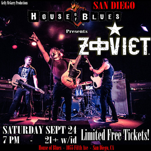 ZOVIET @ House of Blues SAN DIEGO SEPT 24!