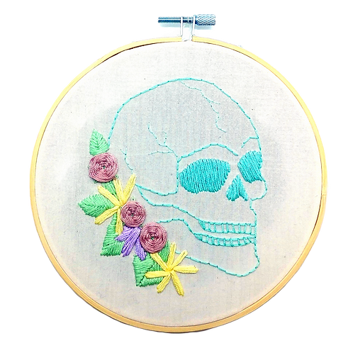 Floral Skull Embroidery Hoop