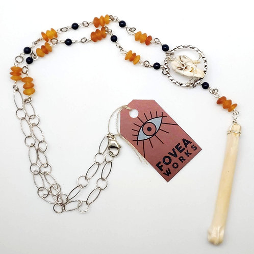Fovea Works Deertooth and Coyote Wrist Bone Necklace
