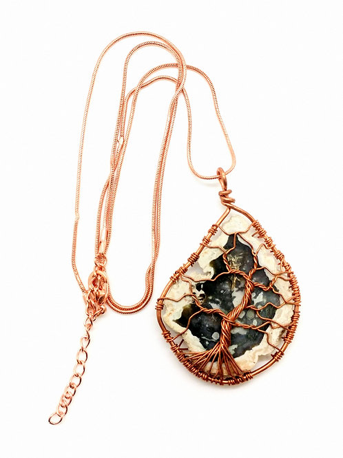 Copper and Stone Tree Necklace
